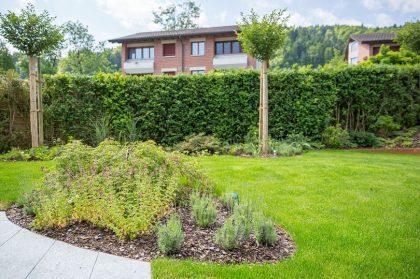 Garten mit sattgrünem Rasen
