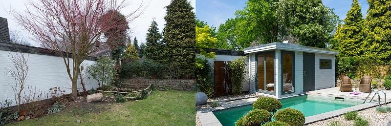 Gartenecke in modernes Gartendesign übersetzt